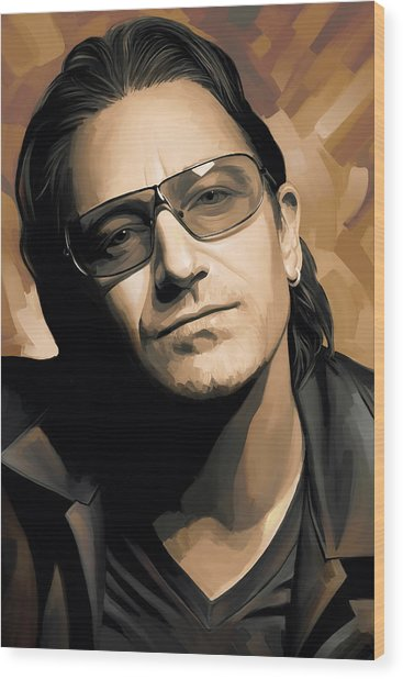 Bono U2 Artwork 2 Wood Print