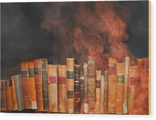 Book Burning Inspired By Fahrenheit 451 Wood Print