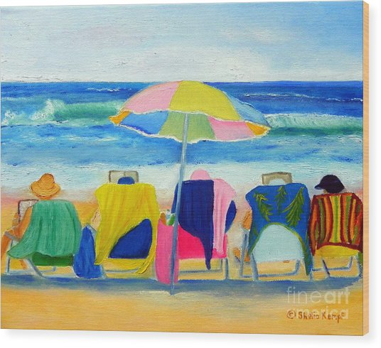 Book Club On The Beach Wood Print