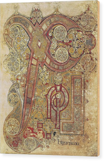Book Of Kells. 8th-9th C. Chapter Wood Print