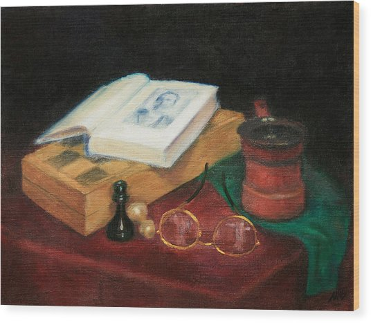Books-chess-coffee Wood Print