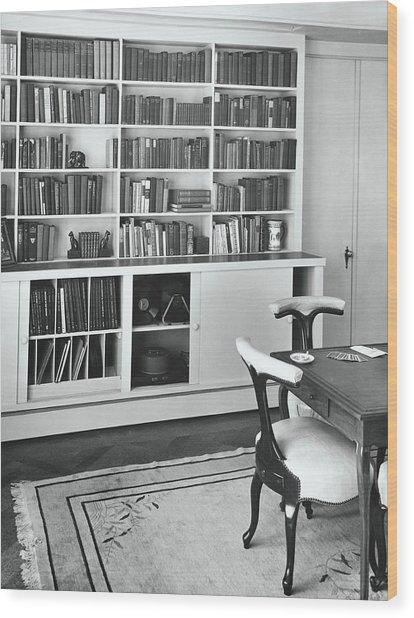 Bookshelf By A Card Table Wood Print