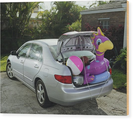 Boot Of Car Packed With Inflatable Toy, Balls And Stereo Wood Print by Baerbel Schmidt