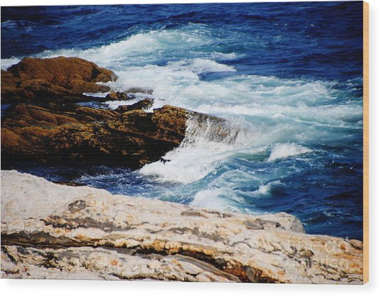 Boothbay Harbor Maine Wood Print by Jacqueline M Lewis