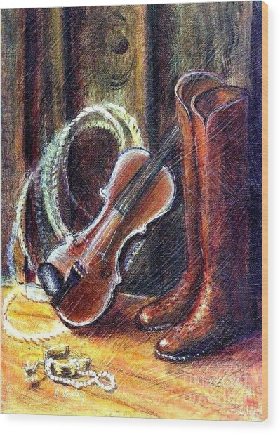 Boots And Pearls Wood Print