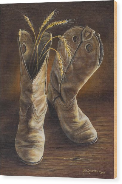 Boots And Wheat Wood Print