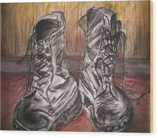 Boots In The Hall Way Wood Print