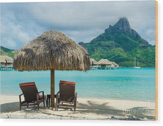 Bora Bora Beach Wood Print