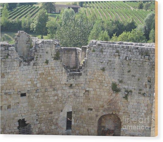 Bordeaux Castle Ruins With Vineyard Wood Print