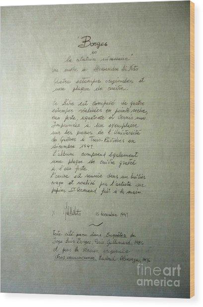 Borges Credits Wood Print