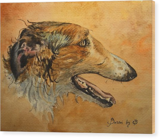 Borzoi Dog Wood Print