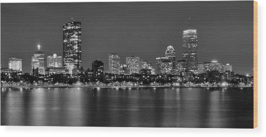 Boston Back Bay Skyline At Night Black And White Bw Panorama Wood Print