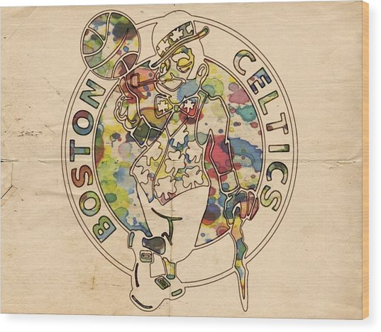 Boston Celtics Logo Vintage Wood Print