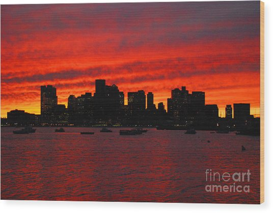 Boston City Sunset Wood Print
