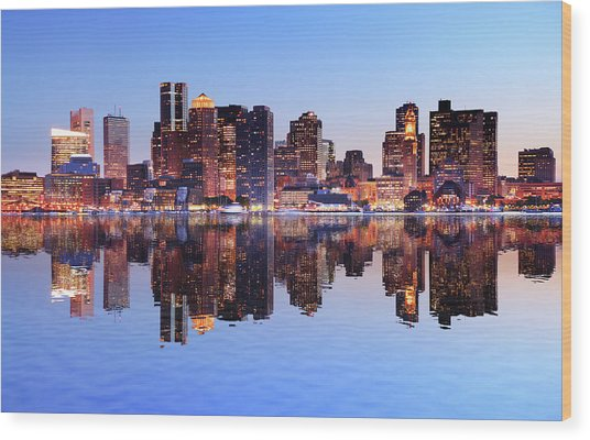 Boston City With Water Reflection At Wood Print by Buzbuzzer