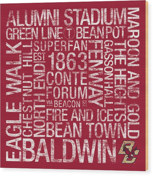Boston College College Colors Subway Art Wood Print by Replay Photos