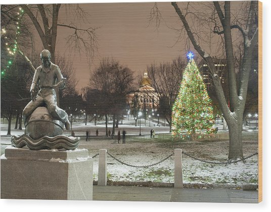 Boston Common Christmas Lights Wood Print by Gretchen Lally