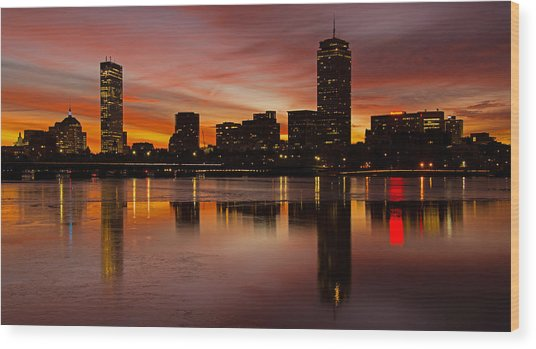 Boston Dawn Wood Print by Ken Stampfer
