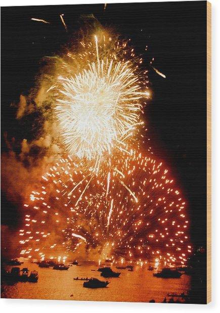 Boston Fireworks  A Burst On The Water Wood Print by John B Poisson