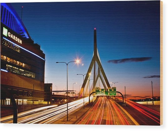 Boston Garden And Bunker Hill Bridge  Wood Print