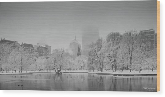 Boston In Snow Wood Print