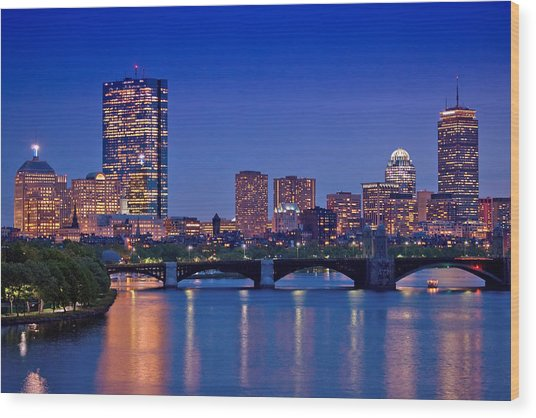 Boston Nights 2 Wood Print