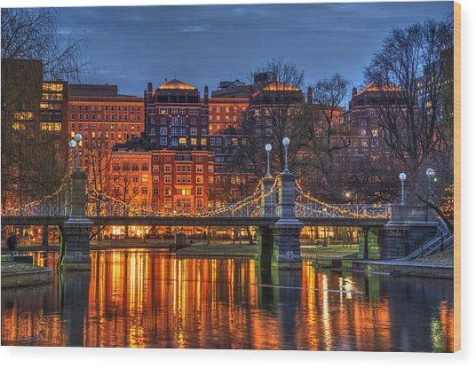 Boston Public Garden Lagoon Wood Print