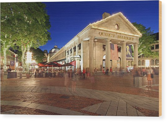 Boston Quincy Market Near Faneuil Hall Wood Print