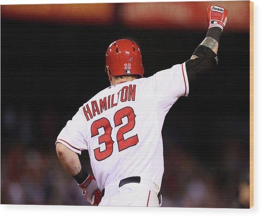 Boston Red Sox V Los Angeles Angels Of Wood Print