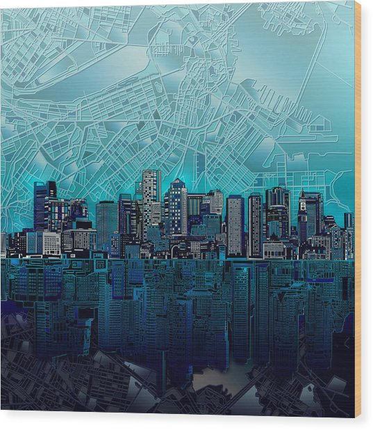 Boston Skyline Abstract Blue Wood Print