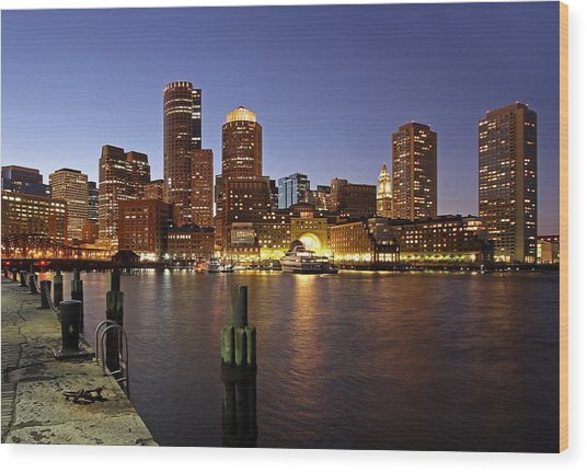 Boston Skyline And Fan Pier Wood Print