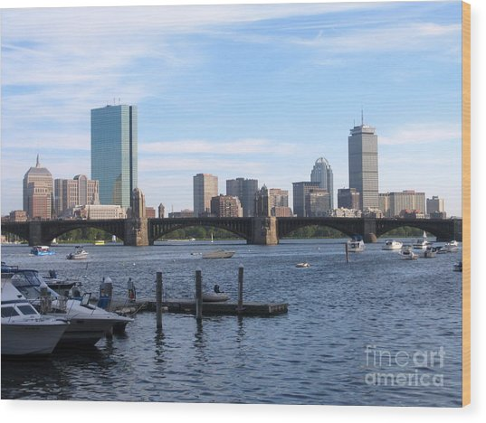 Boston Skyline Wood Print by Jason Clinkscales