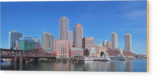 Boston Skyline Over Water Wood Print
