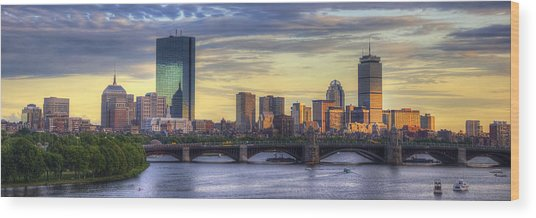 Boston Skyline Sunset Over Back Bay Panoramic Wood Print