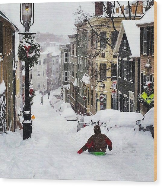 Boston Snow Day Wood Print by Sarah Levy