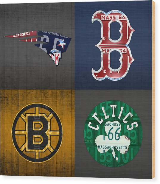 Boston Sports Fan Recycled Vintage Massachusetts License Plate Art Patriots Red Sox Bruins Celtics Wood Print