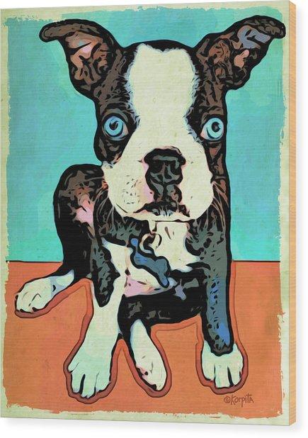 Boston Terrier - Blue Wood Print