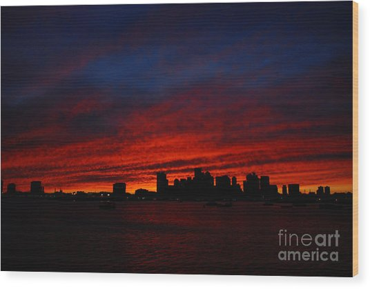 Boston Twilight Wood Print