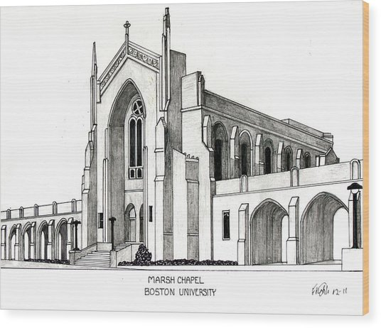 Boston University Marsh Chapel Wood Print