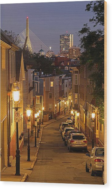 Boston View From Charlestown Wood Print