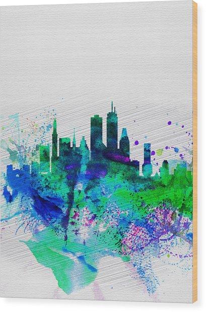 Boston Watercolor Skyline Wood Print