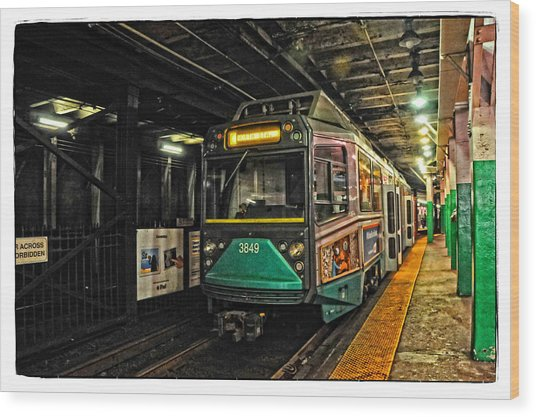 Boston's Mbta Green Line Wood Print