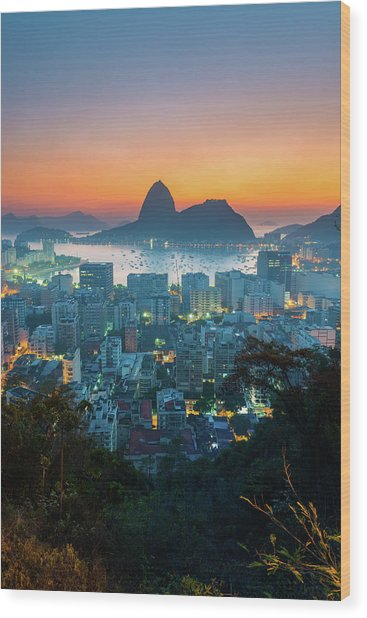 Botafogo Bay With Sugar Loaf At Sunrise Wood Print by Flavio Veloso