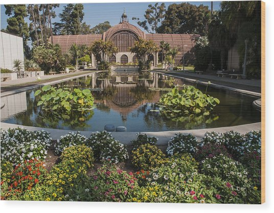Botanical Building Reflecting In The Lily Pond At Balboa Park Wood Print