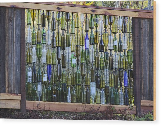 Bottle Fence Wood Print
