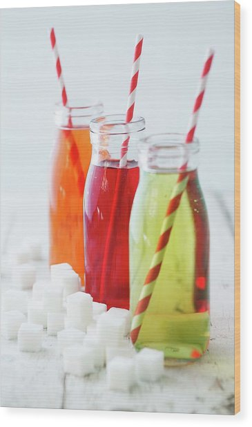 Bottles Of Sugary Drinks With Sugar Cubes Wood Print