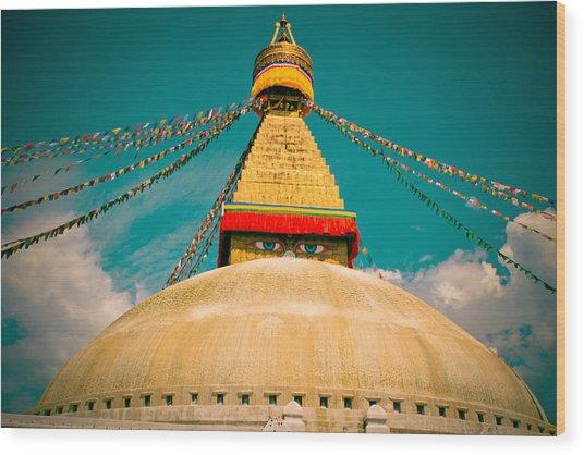 Boudhanath Stupa In Nepal With Blue Sky Wood Print