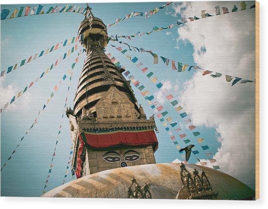 Boudhnath Stupa In Nepal Wood Print