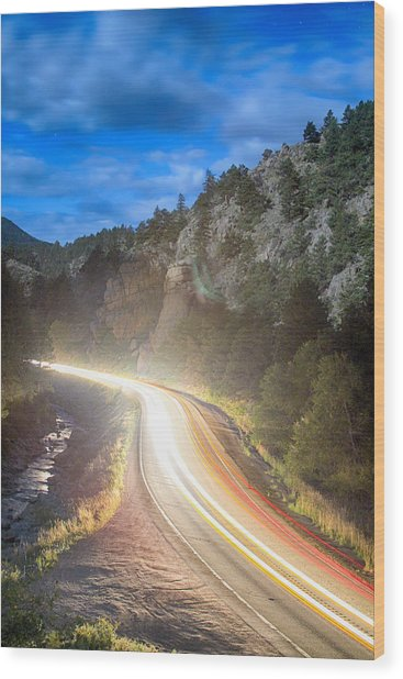 Boulder Canyon Neon Light  Wood Print by James BO  Insogna