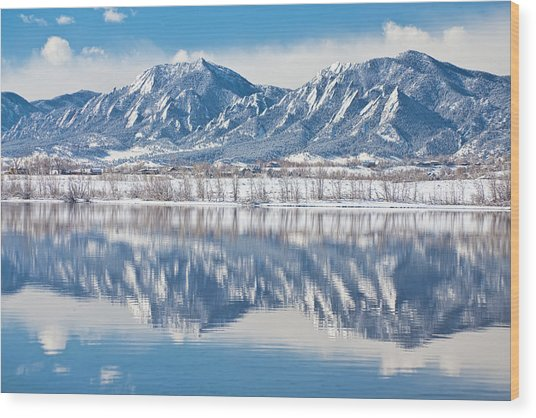 Boulder Reservoir Flatirons Reflections Boulder Colorado Wood Print